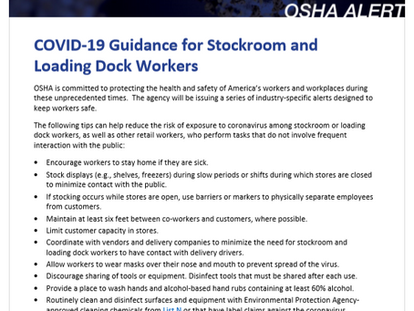 OSHA Issues Alert to Keep Stockroom And Loading Dock Workers Safe