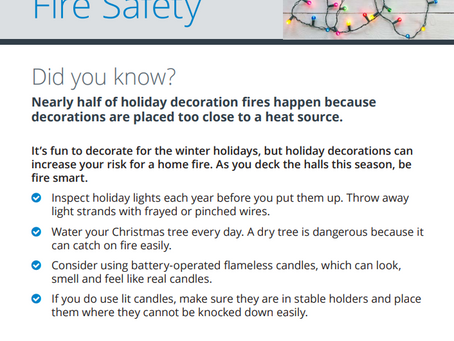 Are you practicing Winter Holiday Fire Safety?