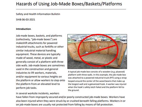 OSHA SHIB: Hazards of Using Job-Made Boxes/Baskets/Platforms