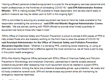 EPA Providing Excess PPE for Fighting COVID