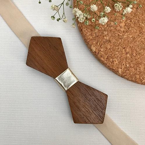 Diamond Point Wooden Bow Tie