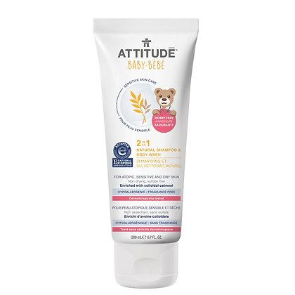 ATTITUDE Baby 2-in-1 Natural Shampoo & Body Wash Fragrance-free 嬰幼兒天然燕麥2合1洗髮沐浴乳