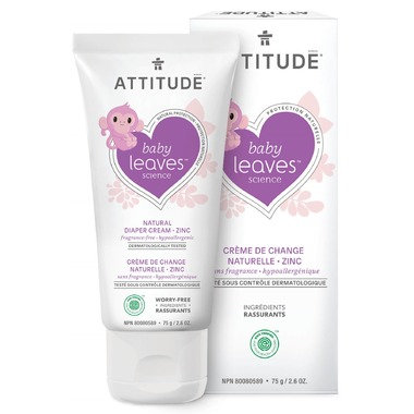 ATTITUDE Baby Leaves Zinc Diaper Cream Fragrance Free 75 g