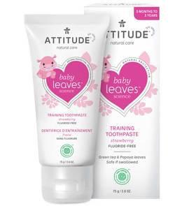 ATTITUDE Baby Leaves Training Toothpaste Fluoride free  嬰幼兒無氟吞嚥安全牙膏 士多啤梨味