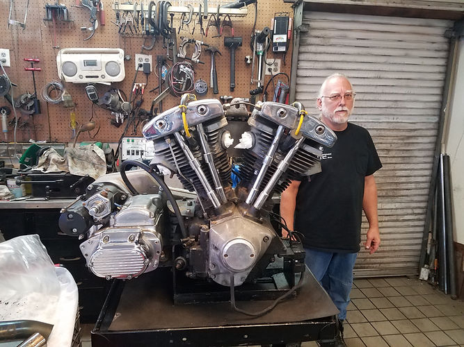 Jeff with completed Shovelhead Engine.jp