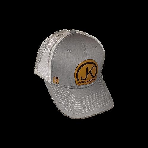 Gray on White Leather logo Cap