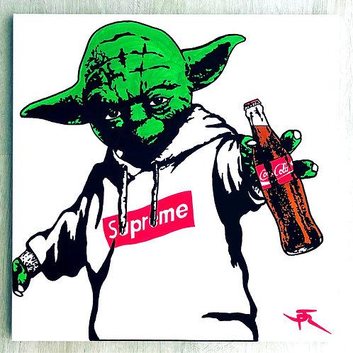 Tableau de JR Artiste représentant maitre Yoda en supreme