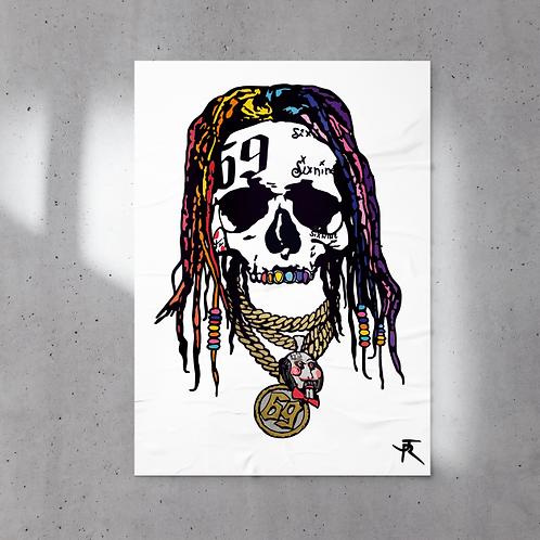 Poster JR Artiste 60x80 cm 6IX9INE SKULL