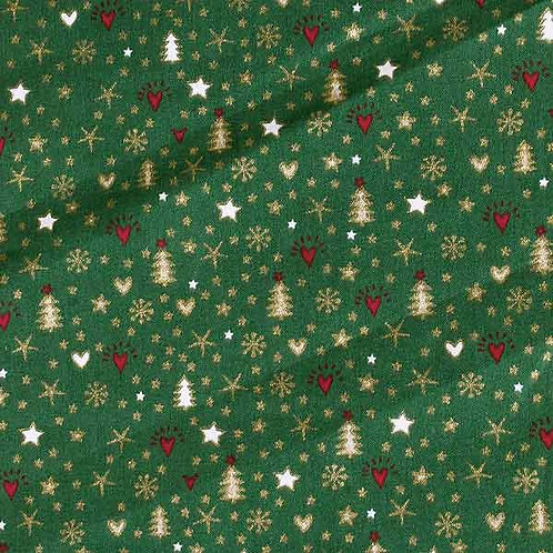 Popelín Navidad verde