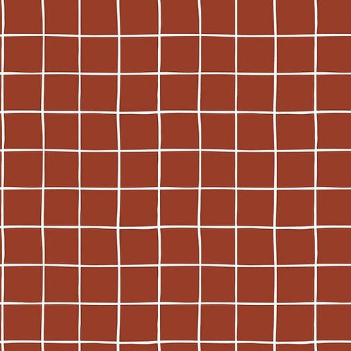 Tejido sudadera afelp. cuadrados Terracota