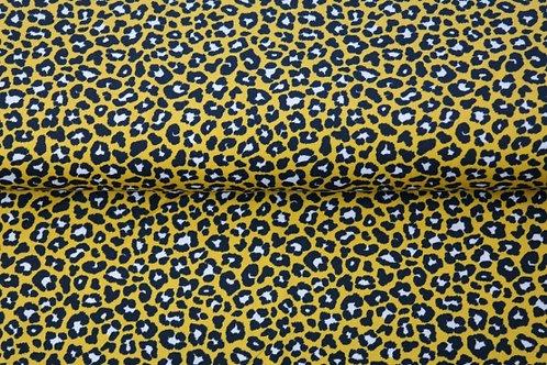Punto algodón Leopardo mostaza