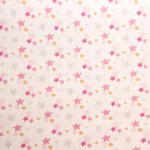 Popelín Estrellas rosa perla