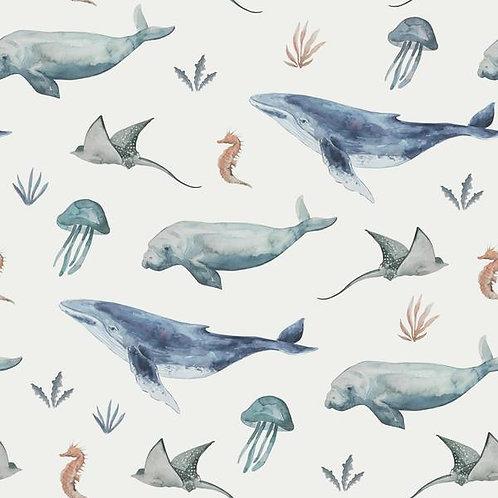 Punto algodón Animales océano