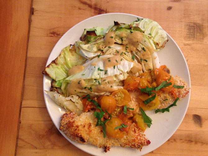 Crispy Yogurt Chicken with Baked Cabbage