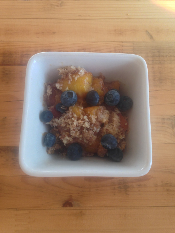Peach & Blueberry Crisp (vegan, gluten free)