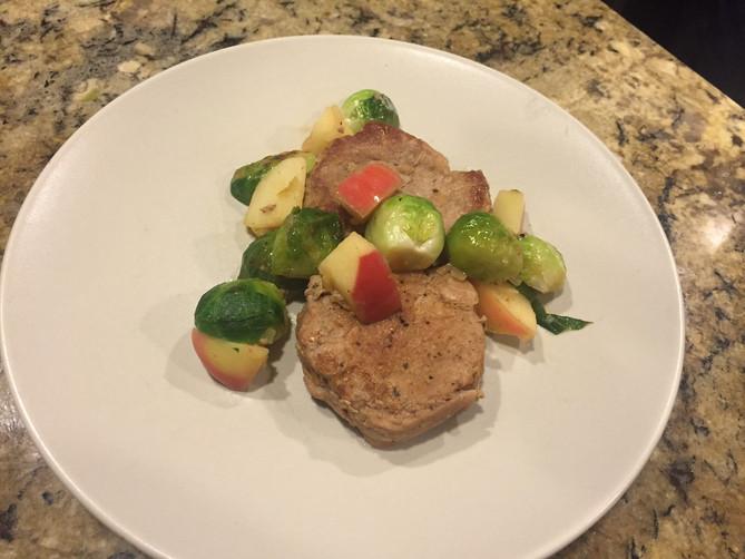 Pork Tenderloin with Brussel Sprouts & Apples