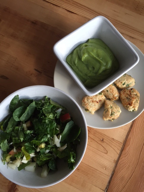 Chicken Meatballs, Kale Salad, and Broccoli Soup