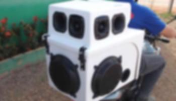 Carretinha para Moto carro de som, propaganda 500 Watts rms