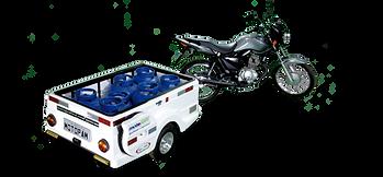 Carretinha para Moto 6 botijões de gás P-13 mais 1 P-8 ou 3 P-45