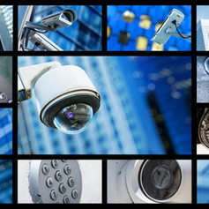 Panoramic collage of closeup security CC