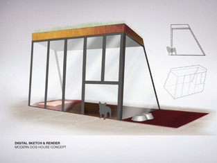 Modern Dog House Sketch & Render