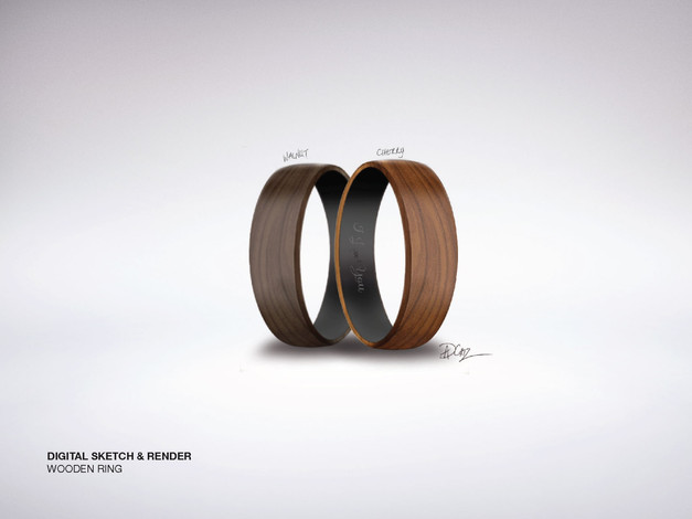 Wooden Ring Digitial Sketch & Render