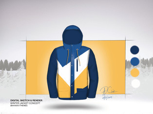 Winter Jacket Digital Sketch & Render
