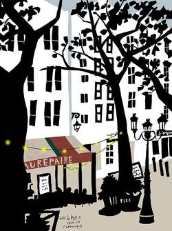 005カフェと街路樹