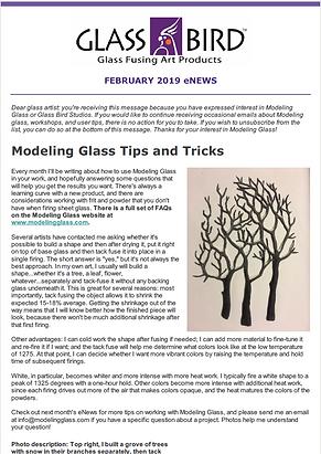February 2019 Glass Bird Studios Modeling Glass Newsletter