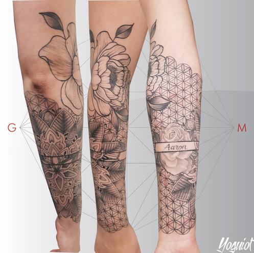 tatouage geometric et florale