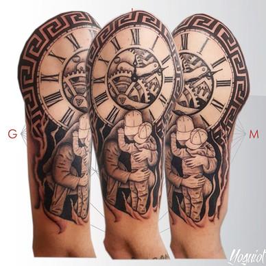 tatouage homme pere et fils , horloge