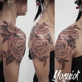 tattoo cover, mandala, rose