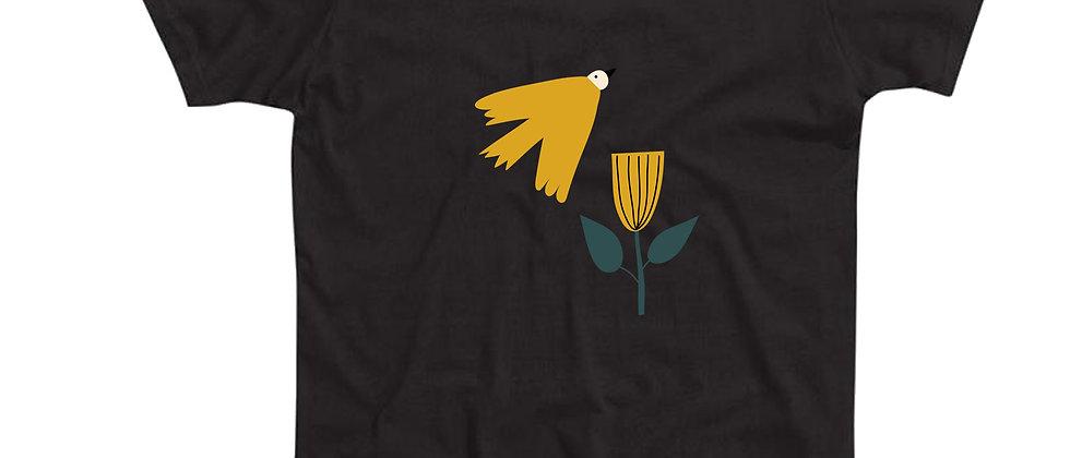 בייסיק טי ציפור ופרח