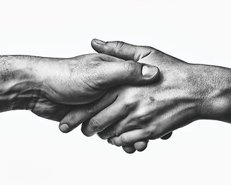 A firm handshake between the two partners.jpg Black and white image on white  background.jpg