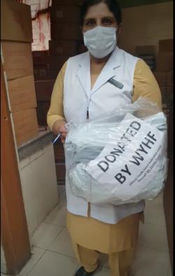 Receiving donations in Mehrauli