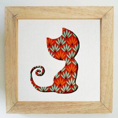 Cadre chaton - graphique orange et bleu