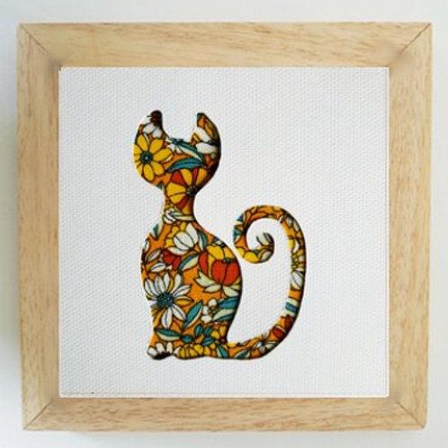 Cadre chat-fleuri jaune