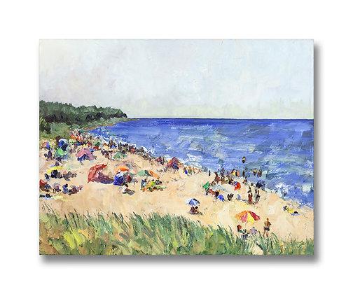 """Oval Beach Frolic (2015) Giclée on Canvas - 22"""" x 28"""""""