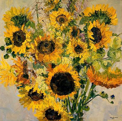 """Sunflowers (2009) Giclée on Canvas - 33"""" x 33"""""""