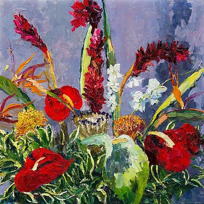 """Kauai Flowers (2020) Giclée on Canvas - 32"""" x 32"""""""