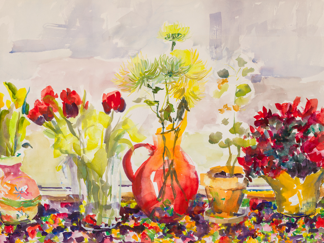 """Still Life with Michelle's Flowers and Blenko Vase"""