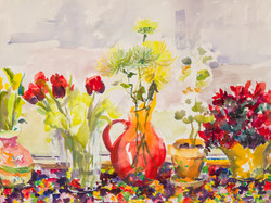 """""""Still Life with Michelle's Flowers and Blenko Vase"""""""