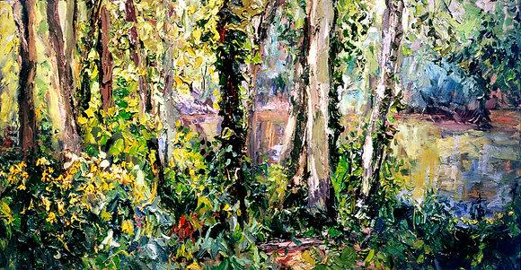 Summer Woods, Saugatuck (2001) Hand-Deckled Card