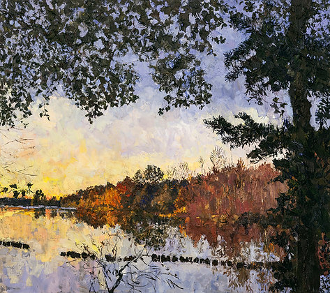 Autumn Sunset at the Ox-Bow (2016) Hand-Deckled Card