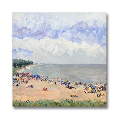 """Oval Beach-ers (2017) Giclée on Canvas - 30"""" x 30"""""""
