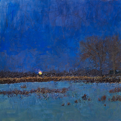 Moonrise on the Bayou (2019) Hand-Deckled Card