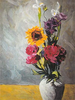 Sunflower, Peonies & Iris