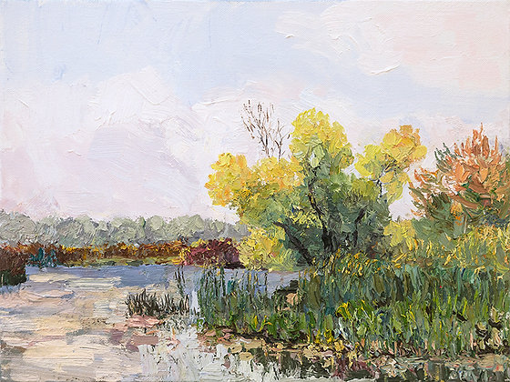 First Day Of Autumn On The River Hand-Deckled Card