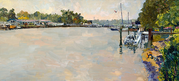 An Early, Early, Autumn Day, Kalamazoo River, Saugatuck (2007) Hand-Deckled Card