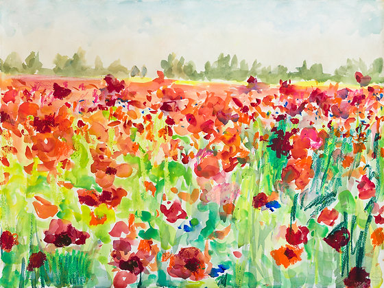 The Poppy Field (2021) Hand-Deckled Card